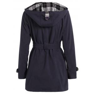 Hooded Double Breasted Belted Long Trench Coat - DEEP GRAY 2XL