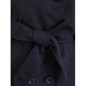 Hooded Double Breasted Belted Trench Coat - DEEP GRAY 2XL