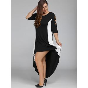 Plus Size Color Block High Low Maxi Carpet Dress - BLACK 5XL