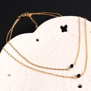 Geometric Beads Layered Pendant Necklace - GOLDEN