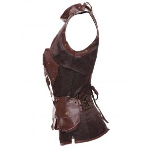 Gothic Faux Leather Belted Corset - BROWN 3XL