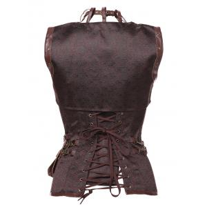 Gothic Faux Leather Belted Corset -