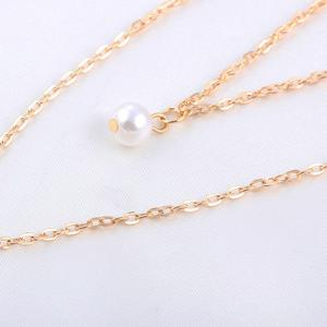 Faux Pearl Sequin Layered Pendant Necklace -