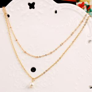 Faux Pearl Layered Double Pendant Necklace - GOLDEN