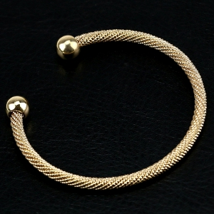 Concise Double Beads Cuff Bracelet -