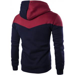 Contrast Color Drawstring Pullover Hoodie -