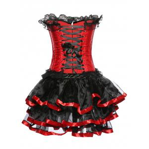 Strapless Layered Lace Spliced Corset - RED 6XL