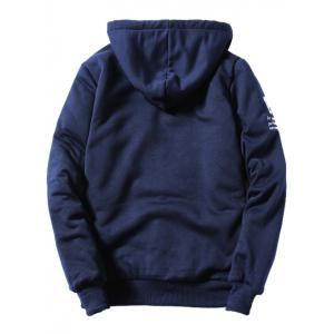Hooded Coffee Cup Embroidered Zip-Up Fleece Hoodie - CADETBLUE 4XL