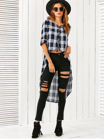 Affordable Lace-Up High Low Plaid Blouse