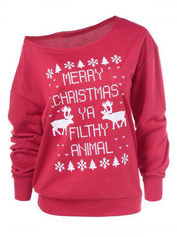 Affordable Merry Christmas Pullover Skew Neck Sweatshirt RED XL