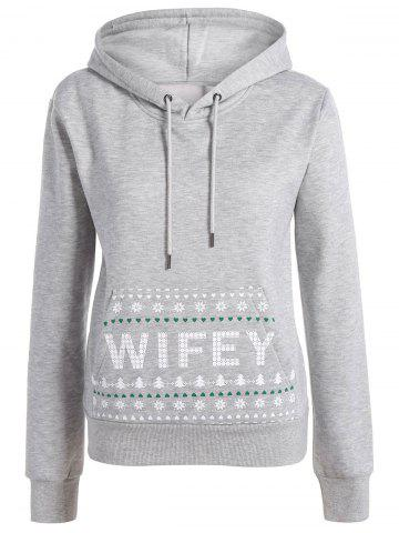 Discount Long Sleeve Letter Print Christmas Pullover Hoodie - S GRAY Mobile