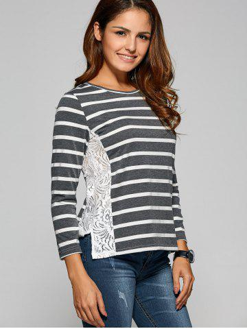 Cheap Side Slit Lace Panel Striped T-Shirt