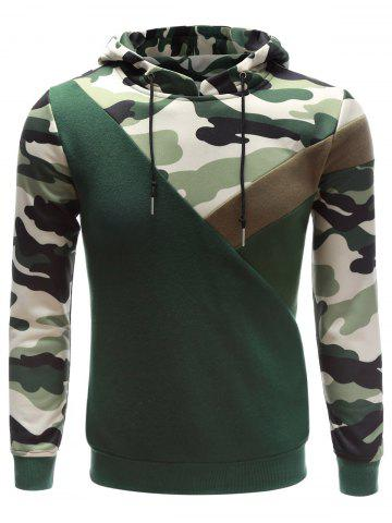 Chic Hooded Camouflage Splicing Long Sleeve Hoodie ACU CAMOUFLAGE XL
