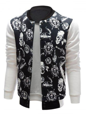 Store Stand Collar Skull Pirate Print Jacket - XL BLACK Mobile