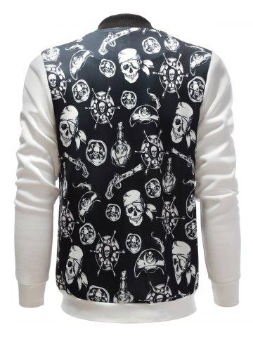 Hot Stand Collar Skull Pirate Print Jacket - XL BLACK Mobile