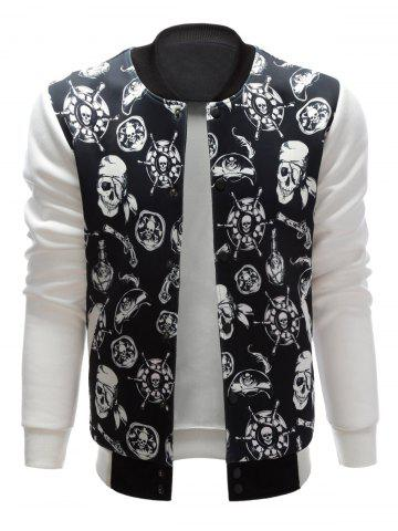 Buy Stand Collar Skull Pirate Print Jacket - XL BLACK Mobile