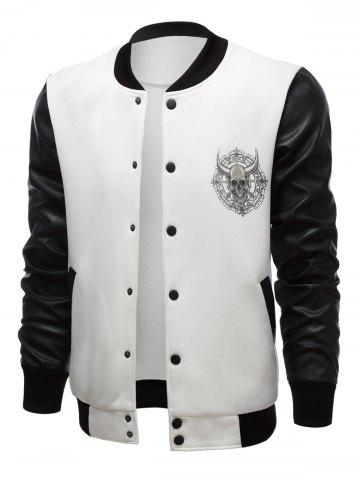 Stand Collar Skull Print Color Block PU-Leather Spliced Jacket