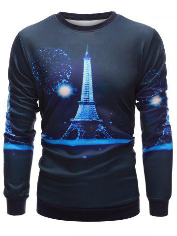 Affordable Crew Neck 3D Iron Tower Print Long Sleeve Sweatshirt CADETBLUE XL