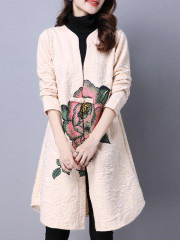 Collarless Cotton Coat With Flower Print - Off-white - M