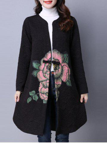 Best Collarless Cotton Coat With Flower Print BLACK L