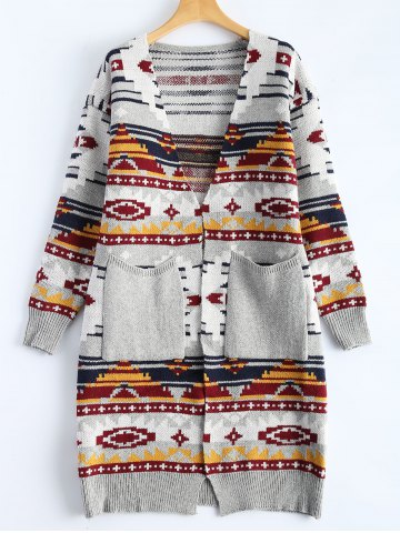 New Jacquard Double Pockets Slimming Cardigan GRAY ONE SIZE