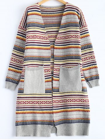 Buy Geometric Double Pocket Cardigan