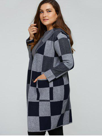 Fashion Hooded Checked Woolen Coat