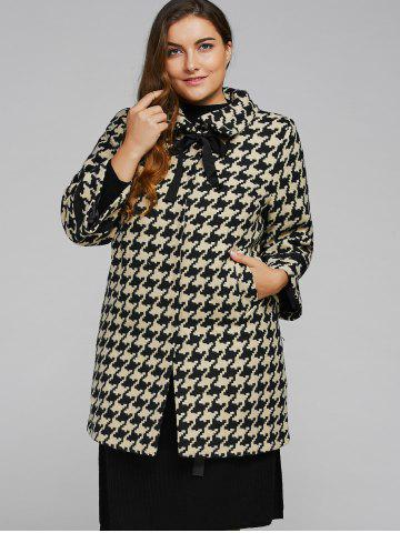 Apricot 4xl Houndstooth Plus Size Cashmere Coat | RoseGal.com