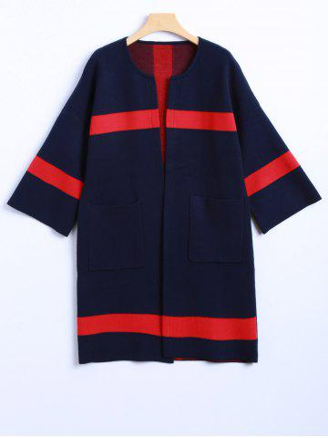 Outfits Color Block 3/4 Sleeve Cashmere Coat