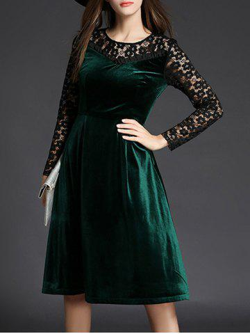 Hot Lace Spliced Long Sleeve Fit and Flare Dress GREEN XL