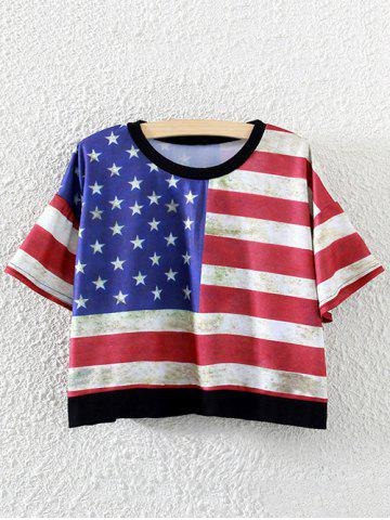 Latest Stripes and Stars Cropped T-Shirt RED ONE SIZE