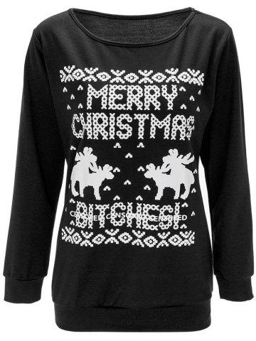 Affordable Christmas Elk Print Pullover Sweatshirt