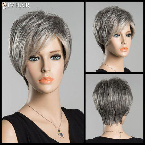 Hot Short Fluffy Inclined Bang Straight Ombre Siv Human Hair Wig