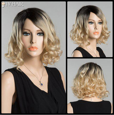 Best Short Fluffy Side Parting Curly Ombre Siv Human Hair Wig COLORMIX