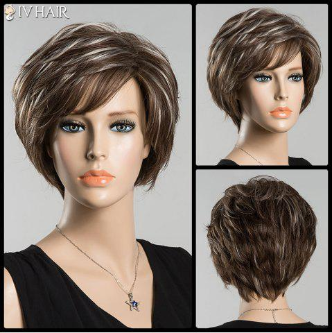 Chic Short Bouncy Inclined Bang Straight Mixed Color Siv Human Hair Wig COLORMIX