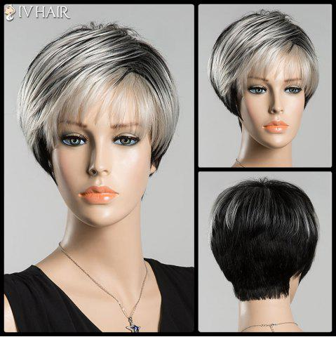 Store Short Spiffy Inclined Bang Straight Ombre Siv Human Hair Wig COLORMIX