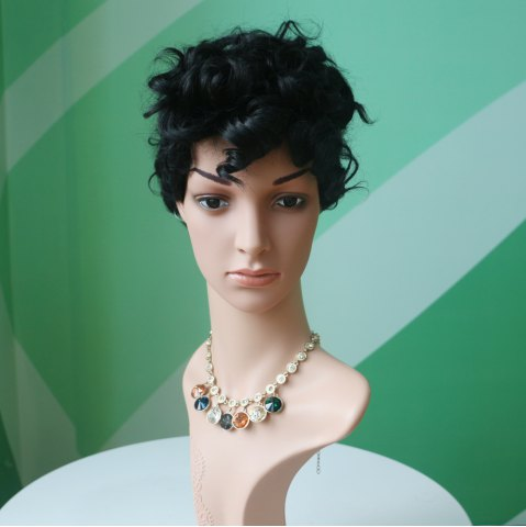 Cheap Short Black Fluffy Curly Side Parting Fashion Synthetic Wig