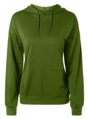 Online Drop Shoulder Pocket Design Drawstring Hoodie ARMY GREEN L