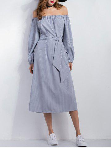 Discount Split Striped Belted Midi Dress