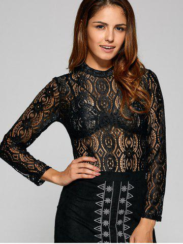 Online See Through Oval Lace T-Shirt BLACK XL