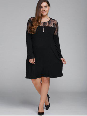 Store Plus Size Long Sleeve Lace Splicing Dress