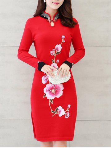 Outfits Long Sleeves Embroidered Chinese Dress