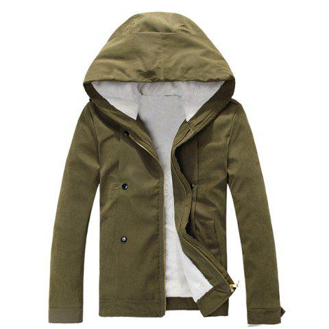 Outfit Plush Inside Snap Button Zip Up Hooded Coat For Men ARMY GREEN XL