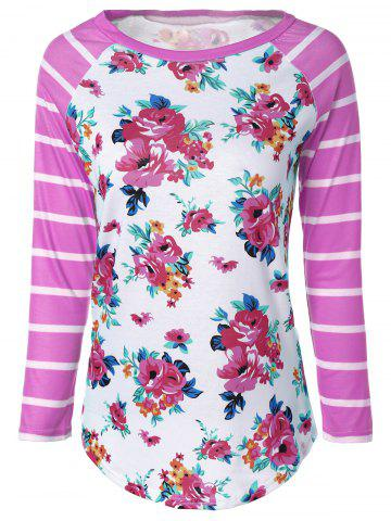 Trendy Flower Print Striped Raglan Sleeves T-Shirt PINK 2XL