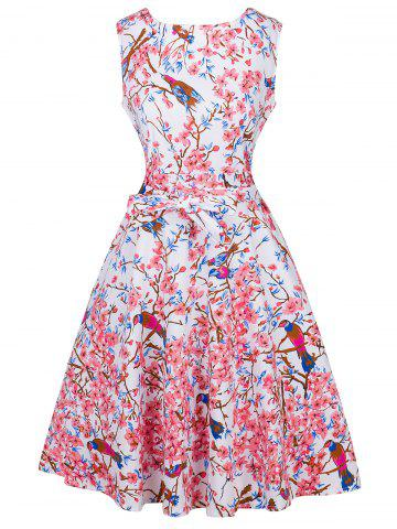 Fancy Retro Tie-Waist Ornate Floral Print Dress