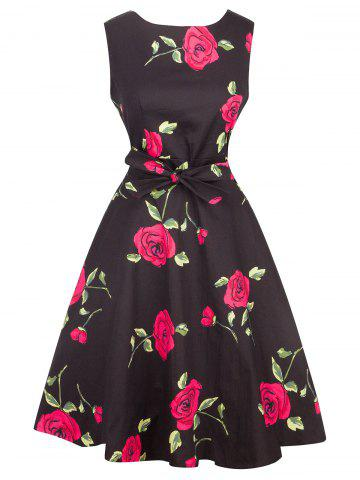 Trendy Vintage Tie-Waist Rose Print Slimming Dress RED XL