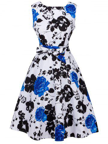 Fashion Retro Ornate Floral Print Tie-Waist Dress BLUE 2XL
