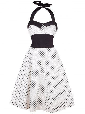 Chic Vintage Halter Polka Dot Shirred Dress