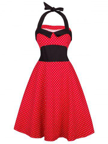 Vintage Halter Polka Dot Shirred Dress - Red - M