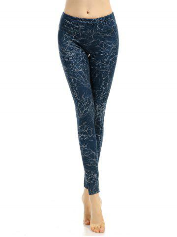 Elastic Waist Printed Slimming Gym Pants - AZURE BLUE S